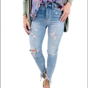 Judy Blue Fringe Cropped Distressed Skinnies